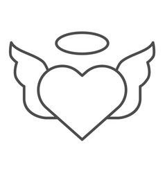 heart with pair of wings thin line icon vector image