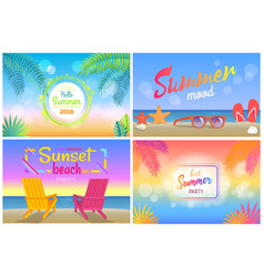 hello summer 2018 tropical promotional posters set vector image