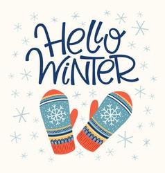 Hello winter card vector