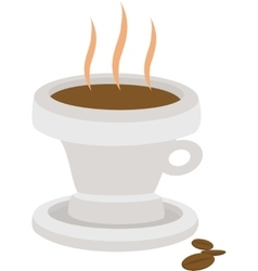 hot coffee drink in cup with beans isolated vector image vector image