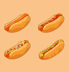Hot dog collection images vector