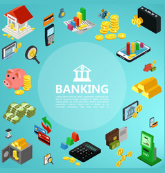 isometric banking elements concept vector image
