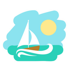 Landscape with sailboat icon vector