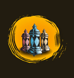Lantern hand drawing isolated on black background vector