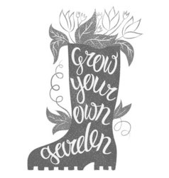 Lettering - Grow your own garden with rubber boot vector image