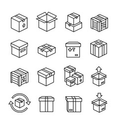 line box icons cardboard boxes package delivery vector image