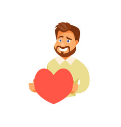 man with a heart vector image