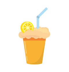 Milk shake orange juice straw vector