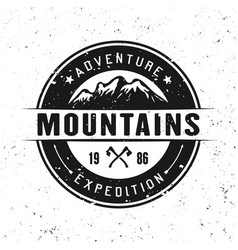Mountains round badge isolated on white vector