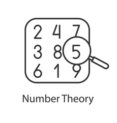 Number theory linear icon vector