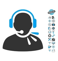 Operator Speech Icon With Air Drone Tools Bonus vector