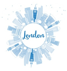 Outline London Skyline with Blue Buildings vector