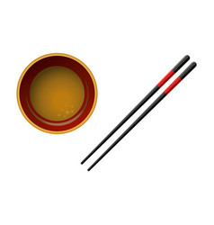 Pair of black wooden chopsticks with red lines and vector