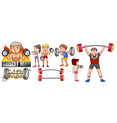 People exercise with lifting weights vector
