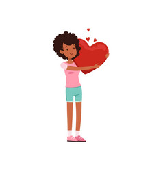 pretty african american teen girl holding red vector image