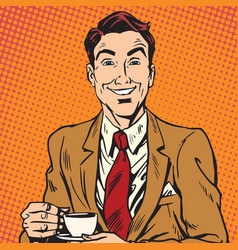 Printavatar portrait of man drinking coffee vector