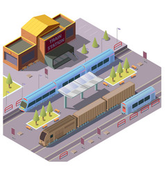 railroad transport on train station vector image