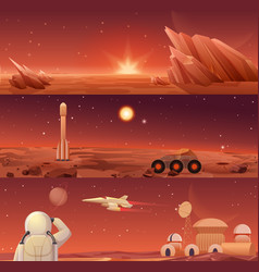 red planet mars colonization and exploration vector image