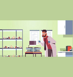 Scientist holding test tubes with blood samples vector