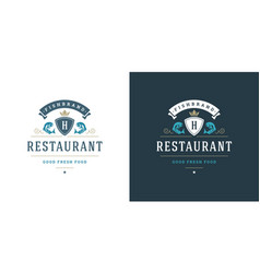 seafood logo or sign fish vector image