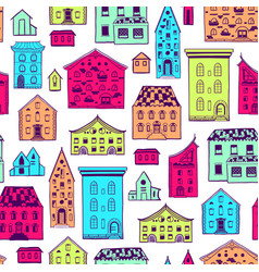 seamless pattern color houses-01 vector image