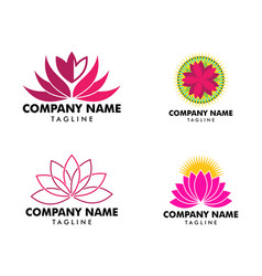 set beauty lotus flowers design logo template vector image