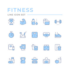 set color line icons fitness vector image