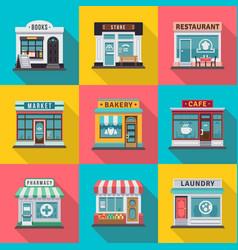 set flat shop building facades icons vector image