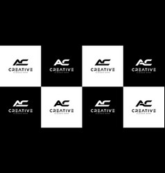 set initials letter ac logo design vector image