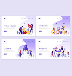 set of landing page templates business service vector image