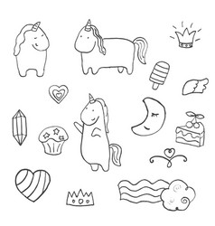 set of unicorn set of unicorn vector image