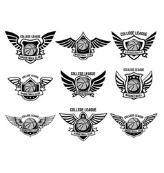 Set of winged emblems with basketball ball design vector
