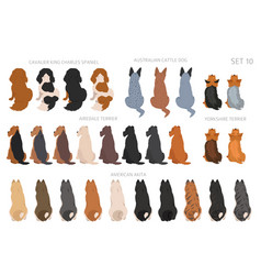 Sitting dogs backside clipart rear view vector