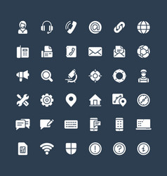 Solid icons set with contact us technical vector