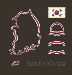 South korea - outline map and ribbons vector