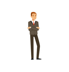 Successful businessman character in suit standing vector