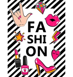 Template for fashion with stylish patch badges vector image