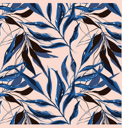 tropical pattern with palm tree banana leaves vector image