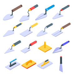 Trowel icons set isometric style vector