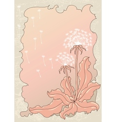Vintage background with dandelions vector image