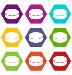 washer hockey icons set 9 vector image