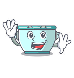 Waving steel pot character cartoon vector