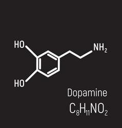 white dopamine molecule on black background vector image