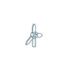windmill energy isometric icon 3d line art vector image