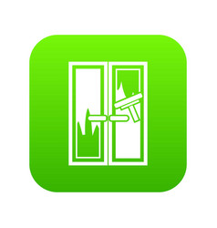 Window cleaning icon digital green vector