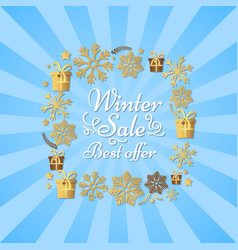 winter sale best offer poster made of snowflakes vector image
