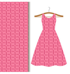 women dress fabric pink geometric pattern vector image