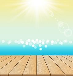 wood floor on beach and sun shine for summer vector image