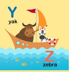 alphabet letter y-yak z-zebra vector image vector image