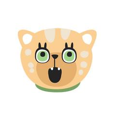 cute curious kitten head funny cartoon cat vector image